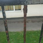 Rusty old railings outside our chalet