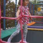 our happy wee one on the trampoline