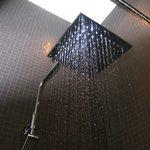 Rain fall showerhead in the bathing area.