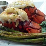 Twin lobster tails and asparagus
