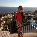 enjoying our complimentary cava on the balcony