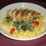 Chicken Florentine over pappardelle egg noodles