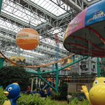 View of rides in Nickelodeon Universe