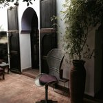 antique doors and eclectic furniture