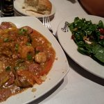 Shrimp and grits with strawberry walnut salad...so delicious!