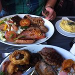 Huge mixed grill which comes with two sides