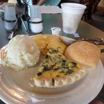 Spinach quiche, mashed potatoes, and corn pudding