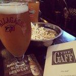 Popcorn bowl and beer at the Gaff