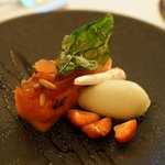 Dessert - Watermelon freshness with candied tomato, basil sorbet