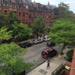 View of Newbury Street from our bay window.