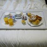 Delicious Italian breakfast in bed