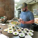 Chef Brian dishing up tastes for the food tour