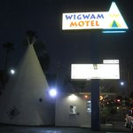 Motel lighting at night.