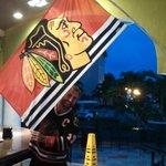 Hawks flag on display in La Bambola Sports Bar...thanks, Juan!