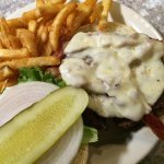 Burger with provolone and fries