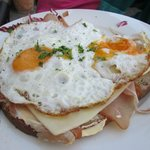 Coarse Rye Bread with Ham, Cheese, Fried Eggs.