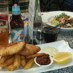 Beer battered barra with Burleigh 28 Pale Ale plus Vietnamese chicken salad.