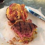 Here's the burger split in half and partly eaten.