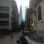 Looking down the street towards the hotel with the shard in the background