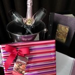 Beautifully presented champagne & chocolates.