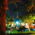 THe hotel grounds at night