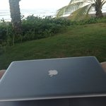 Office at the beach-  Sitting in Las Lajas beach chairs with wireless.