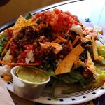 Taco Salad w/ homemade tortilla strips and guacamole - huge portions