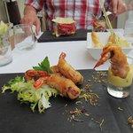 Starter of prawn in lime tempura batter