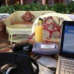 Wi-Fi in lobby with friend