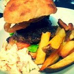 Eddy Burger / Beef Burger w. Black Pudding & Onion Rings