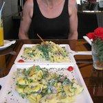 Delicious pasta - Verde Tortilini for me and Verde Tagliatelli for my wife.