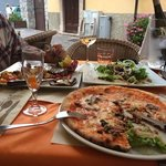 pizza napoli, entrecot steak and salad