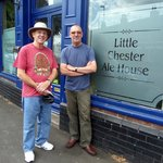 John and George outside the Little Chester Ale House.