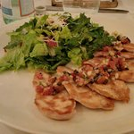 Grilled chicken with fresh greens