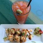 Bloody Mary and crab shrimp roll