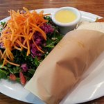 Buffalo wrap and kale salad