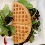 The Roasted mushroom and goat cheese with the waffle.