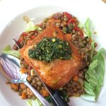 Salmon on Bed of Lentils