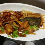 Grey mullet with tomato and bacon linguini