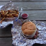 Pit beef sandwich and fries