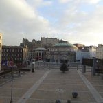 View out to the Usher Hall and Edinburgh Castle