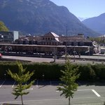 View from my balcony. Pink building is the train station: Interlaken OST