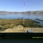 Lake Titicaca with mountains in background