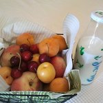 Fruits and milk, fresh from the surrounding orchards and kibbutz
