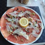 First the bread then carpaccio mmmm x