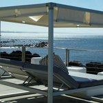canopied lounger by the pool