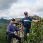 My husband and I at the top of Angel Rock