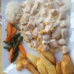 Delicious creamy chicken with huge chips