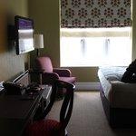 Desk, TV, & Window upon walking into the room