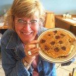 My friend showing off her Door County Cherry pancakes.